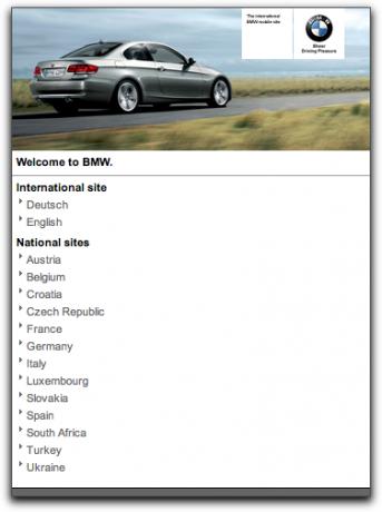 Die .mobi-Site von BMW.