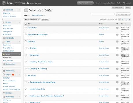 Übersicht der Seiten in WordPress