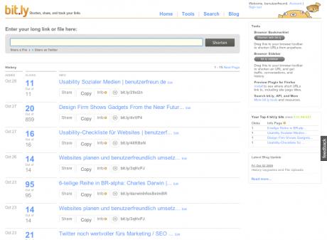 Screenshot persönliche Seite bei bit.ly mit Klickstatistik