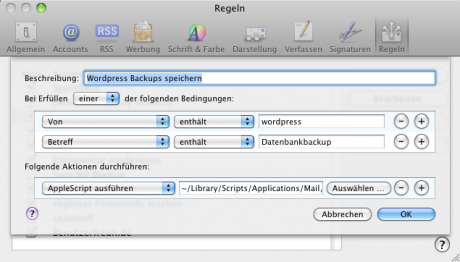 Regel in Apple Mail einrichten