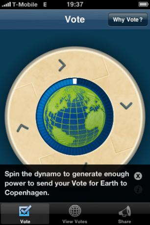 Startbildschirm der App Vote Earth