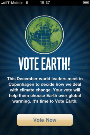 """""""Hintergrundinfos"""" der App Vote Earth"""