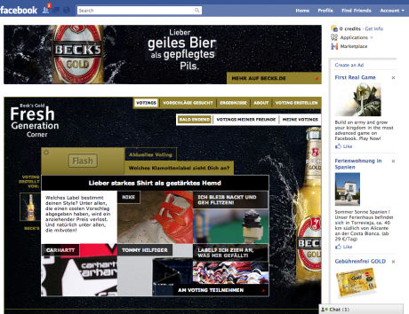 Die Fanseite von Becks Gold bei Facebook
