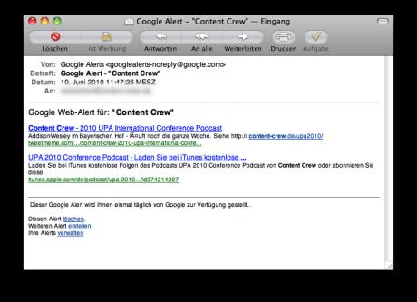 """Ein Mail zu den Schlagworten """"Content Crew"""" von Google Alerts"""