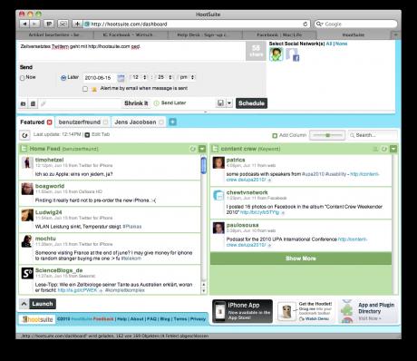 Hauptseite von HootSuite