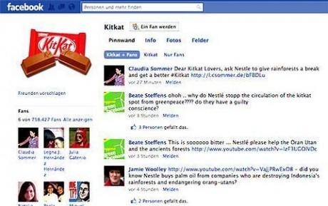 Facebook-Seite von Kitkat