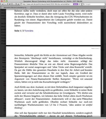 Safari 5 Reader - Darstellung von mehrseitigen Texten