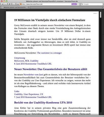 Reader Funktion des Browsers Safari 5