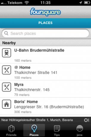Foursquare zeigt die Orte, die es in der Nähe findet