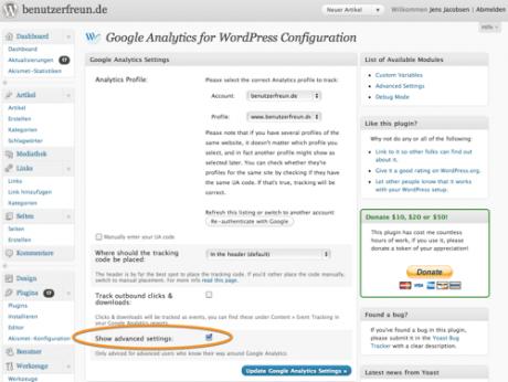 Das Plugin Google Analytics for WordPress