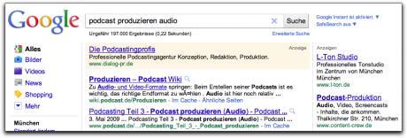 Google AdWords werden über & neben den organischen Suchergebnissen angezeigt.