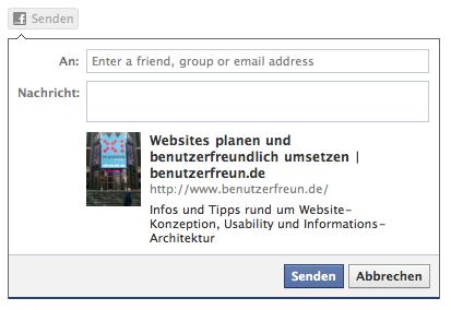 So sieht das Fenster aus, das bei Klick auf den Facebook Senden-Button erscheint.