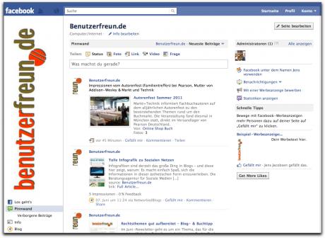 Die Facebook-Seite der Benutzerfreunde