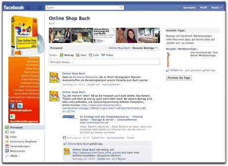 Die Facebook-Seite des Online Shop Buchs