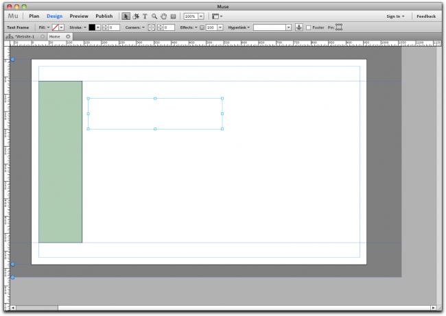 Die Gestaltungs-Ansicht von Adobe Muse