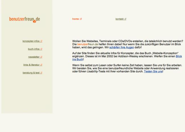 Die Startseite der benutzerfreun.de 2001, die allererste Version
