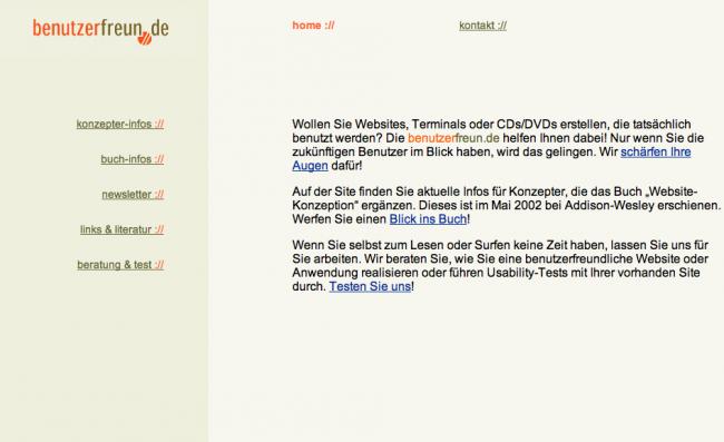Die Startseite der benutzerfreun.de 2004