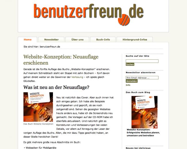 Die Startseite der benutzerfreun.de 2009 – nach einem ordentlichen Relaunch