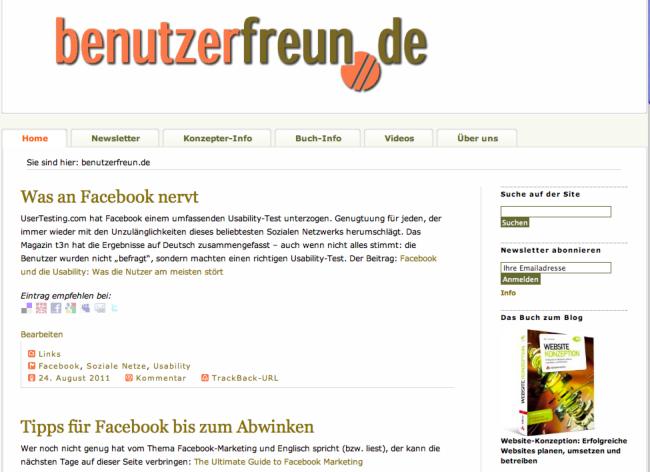 Die Startseite der benutzerfreun.de 2011