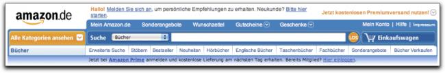 Der Seitenkopf auf Amazon.de 2009