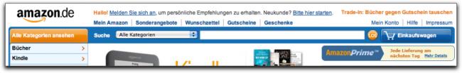 Der Seitenkopf auf Amazon.de 2011