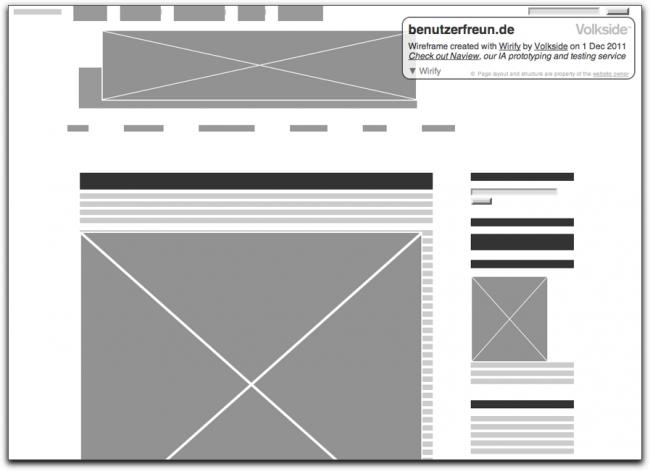 Wireframe der benutzerfreun.de, erstellt mit Wirify