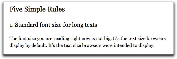Beispiel für gute Schriftgröße