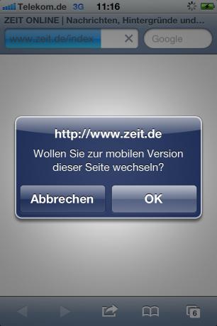 Screenshot Hinweis auf mobile Version zeit.de