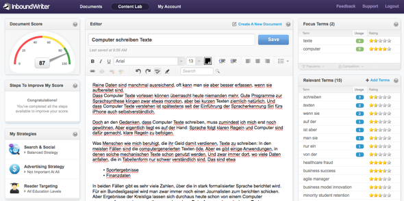 Screenshot InBoundWriter