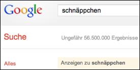 Screenshot Google Suche Schnäppchen