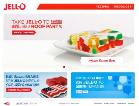 Startseite von Jell-O, einer Wackelpudding-Marke
