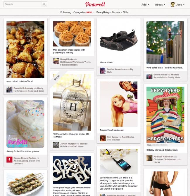 Screenshot Startseite Pinterest