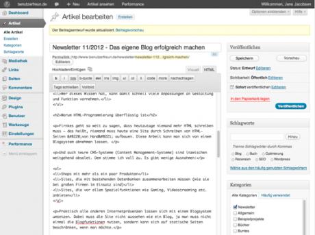 Benutzeroberfläche von WordPress