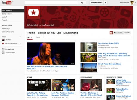 Beliebte Videos auf Youtube