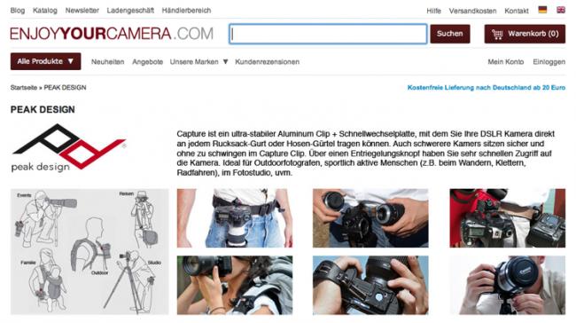 Produktabbildungen auf der Website