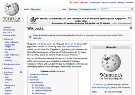Website Wikipedia deutsch