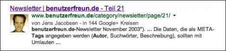 Autoren-Bild in Google-Suchergebnissen
