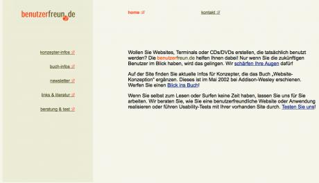 So sah sie aus 2002, die Site benutzerfreun.de.