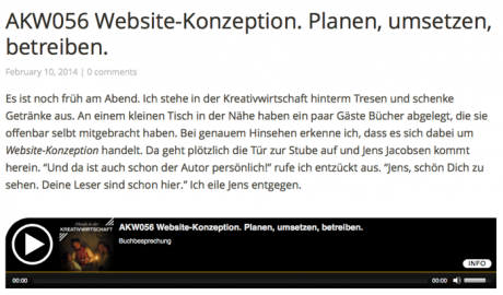 Screenshot Website Abends in der Kreativwirtschaft