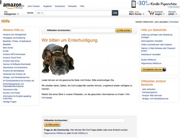 Amazon ist etwas auf den Hund gekommen. Die Fehlerseite überrascht, weil sich die Shoppingsite sonst so ernst gibt.