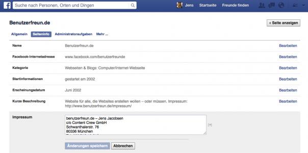 Screenshot Eintragen eines Impressums bei Facebook