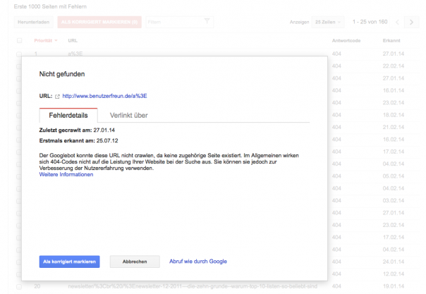 Screenshot Google Webmaster Tools