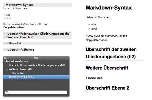 Screenshot MultiMarkdown Composer