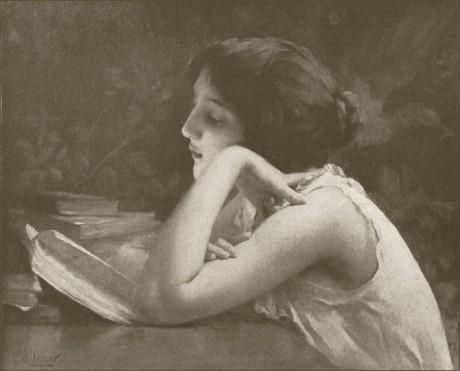 Gemälde junge Frau ein Buch lesend