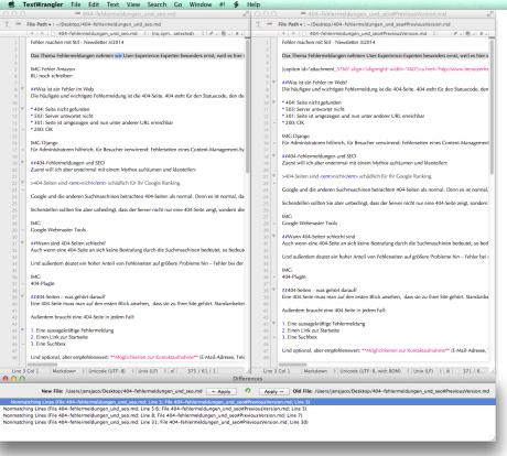 Screenshot TextWrangler Dokumentvergleich
