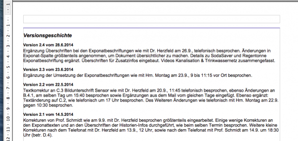 Screenshot Versionsgeschichte