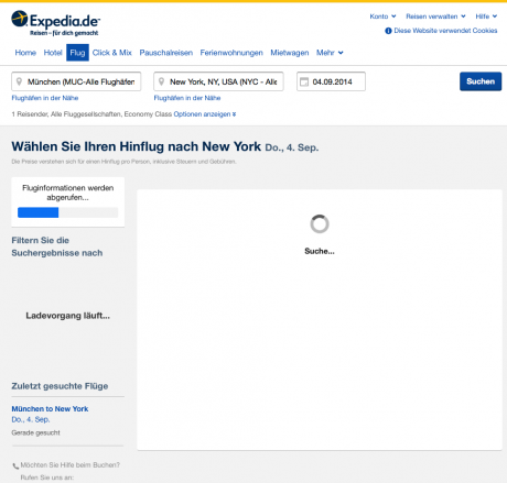 Website Expedia-Flugsuche