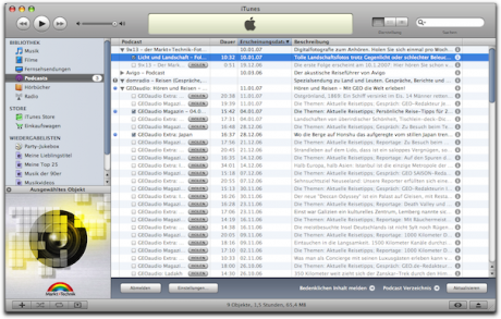 Screenshot Podcastverzeichnis iTunes