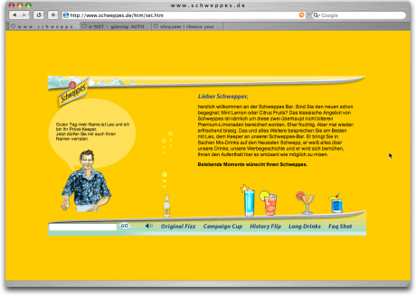 Screenshot Schweppes Chatbot