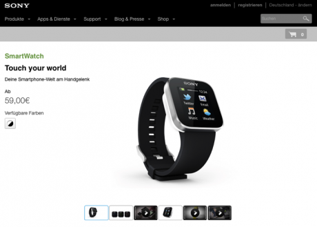 Website Sony SmartWatch